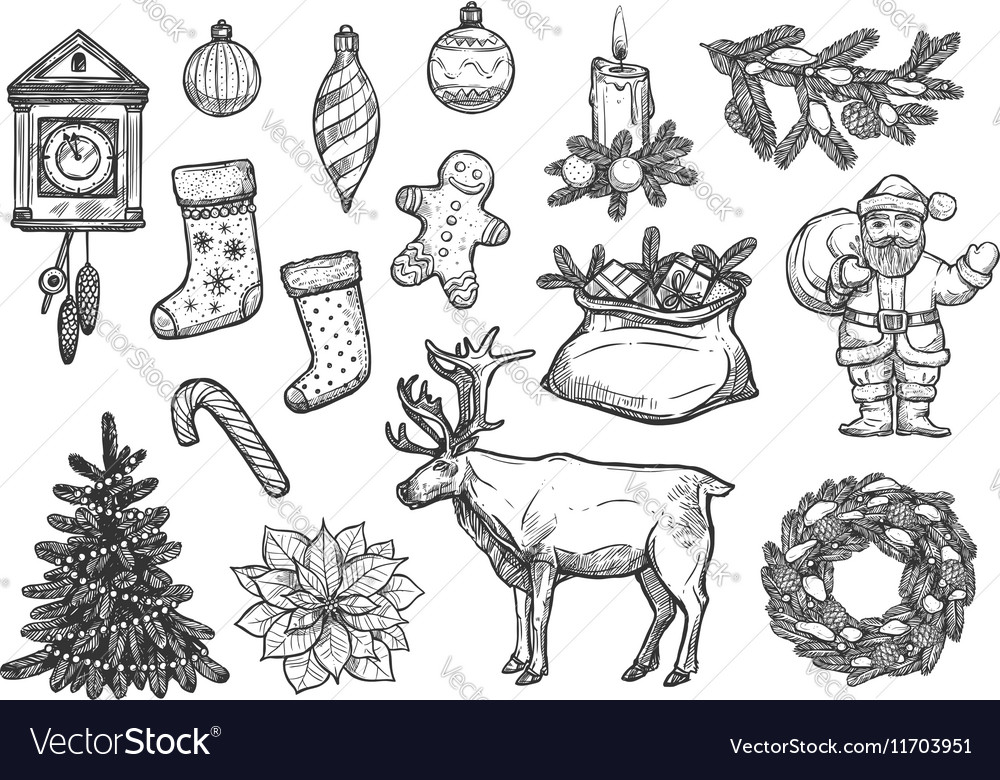 Christmas Sketches.Christmas New Year Ornaments Sketch