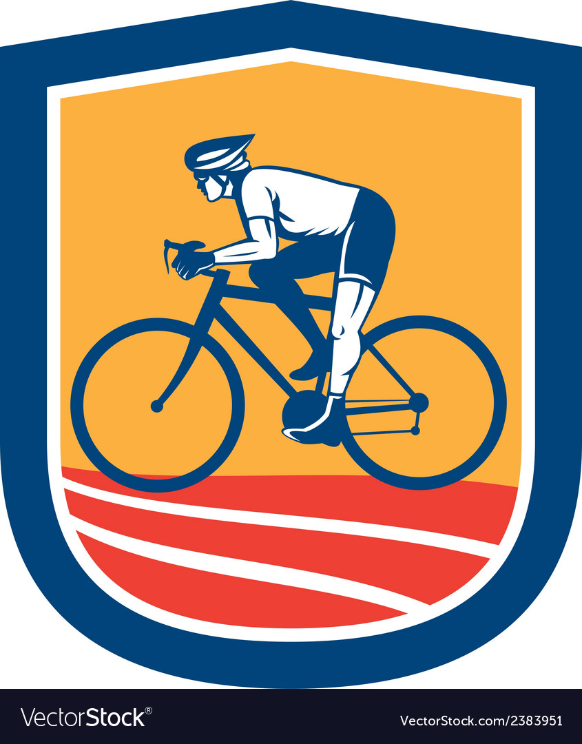 Cyclist Riding Bicycle Cycling Side View Retro vector image