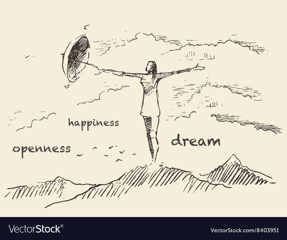 Drawn openness happiness concept sketch