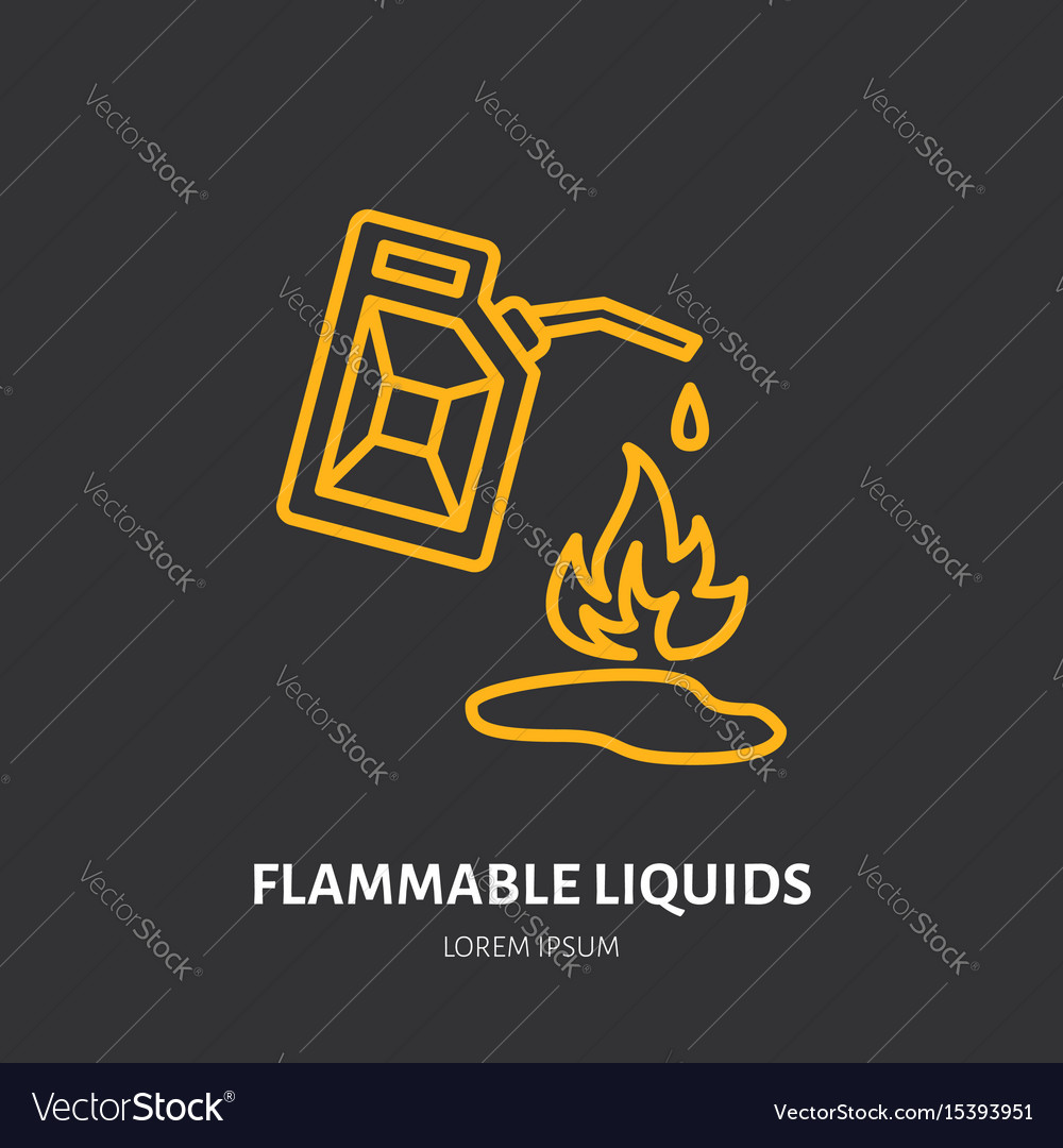 Fire extinguisher flat line sign of flammable