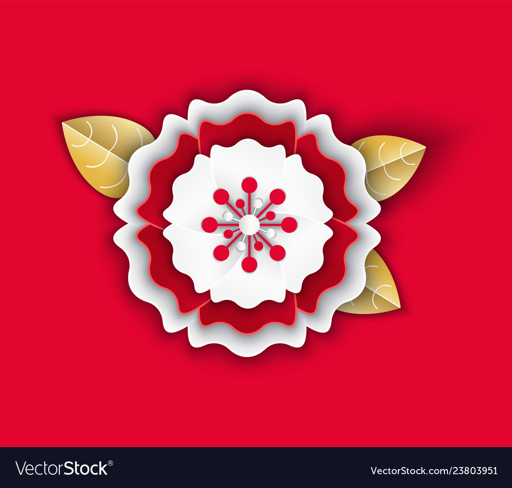 Flower petals origami with leaves chinese icon