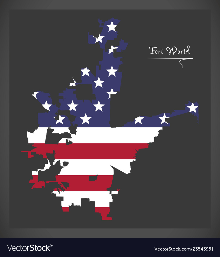 Fort worth texas map with american national flag