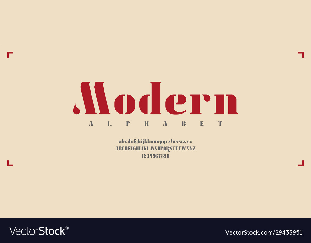 Modern typeface with upper and lower cases as