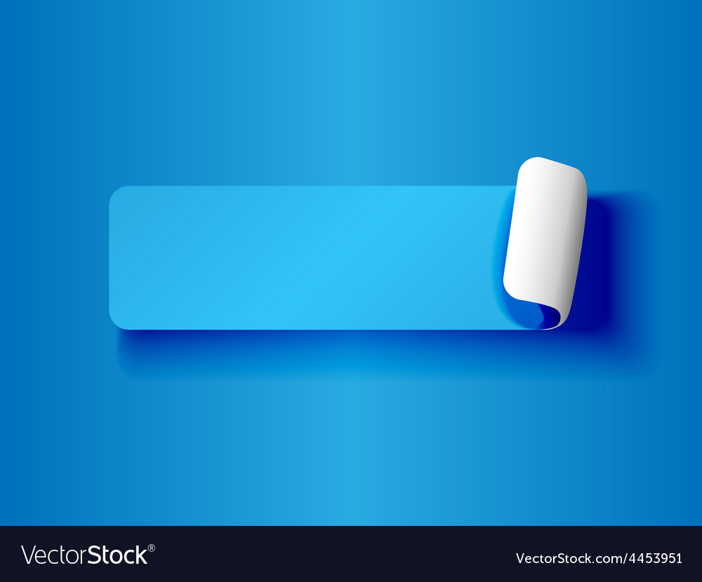 Peeling label blue on blue vector image