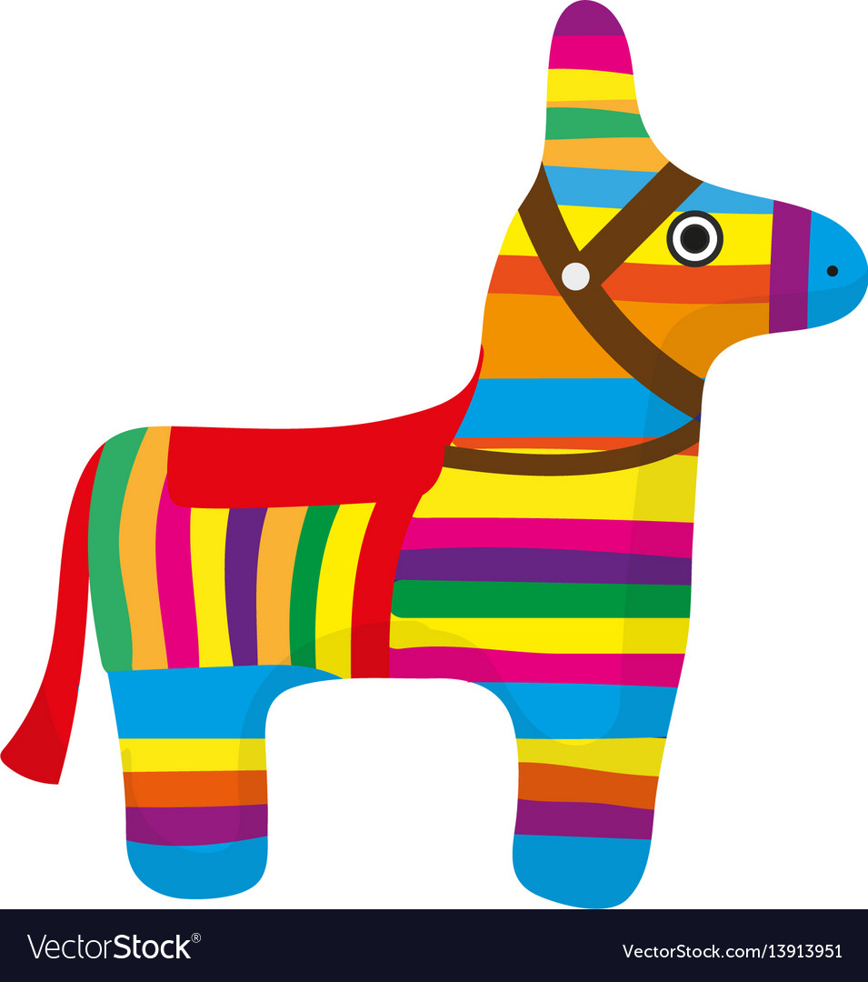 Pinata icon flat style donkey colorful isolated