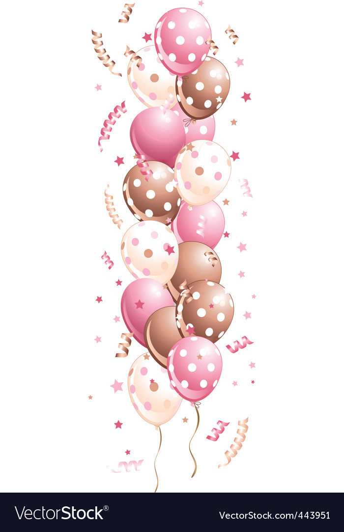 Pink holiday balloons in line