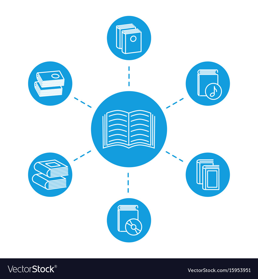 Reading concept - book line icons