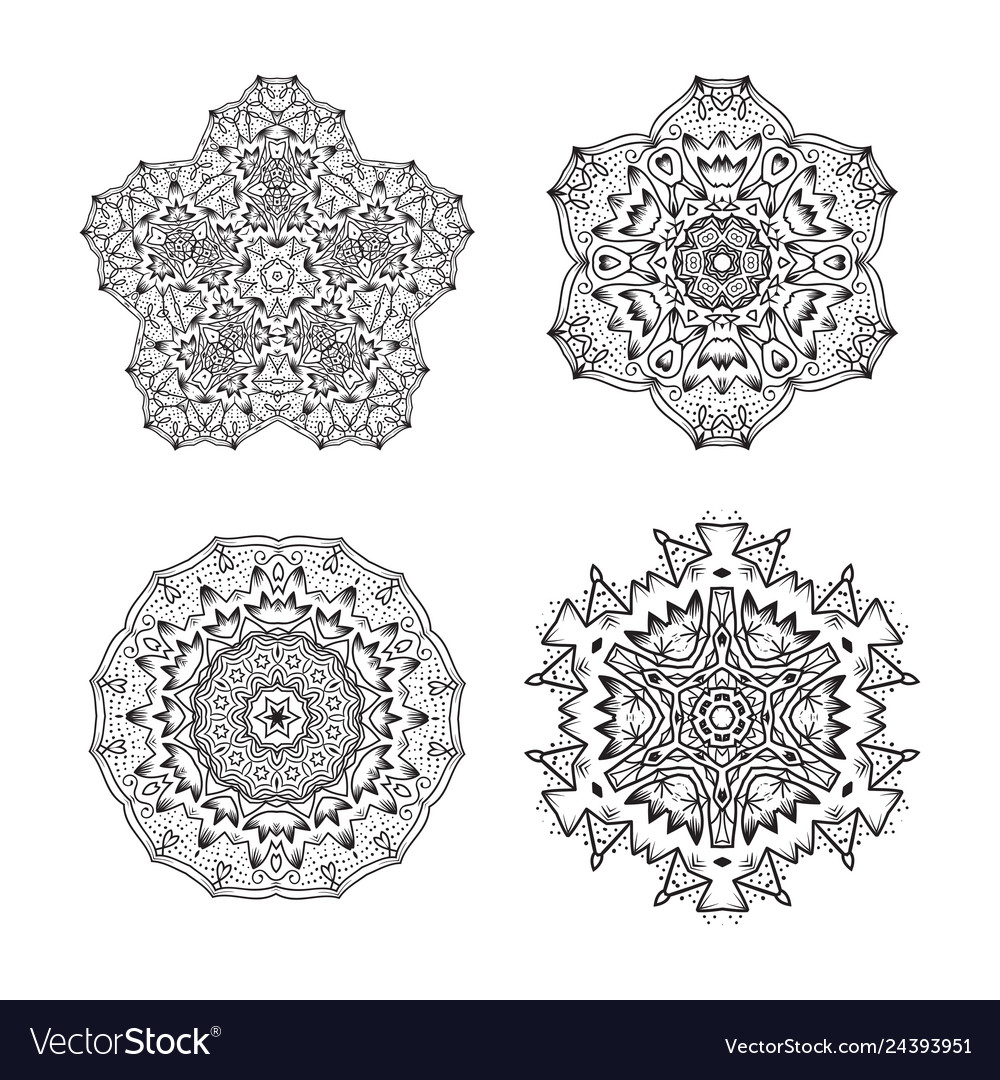 Set of ethnic fractal mandala tattoo design looks