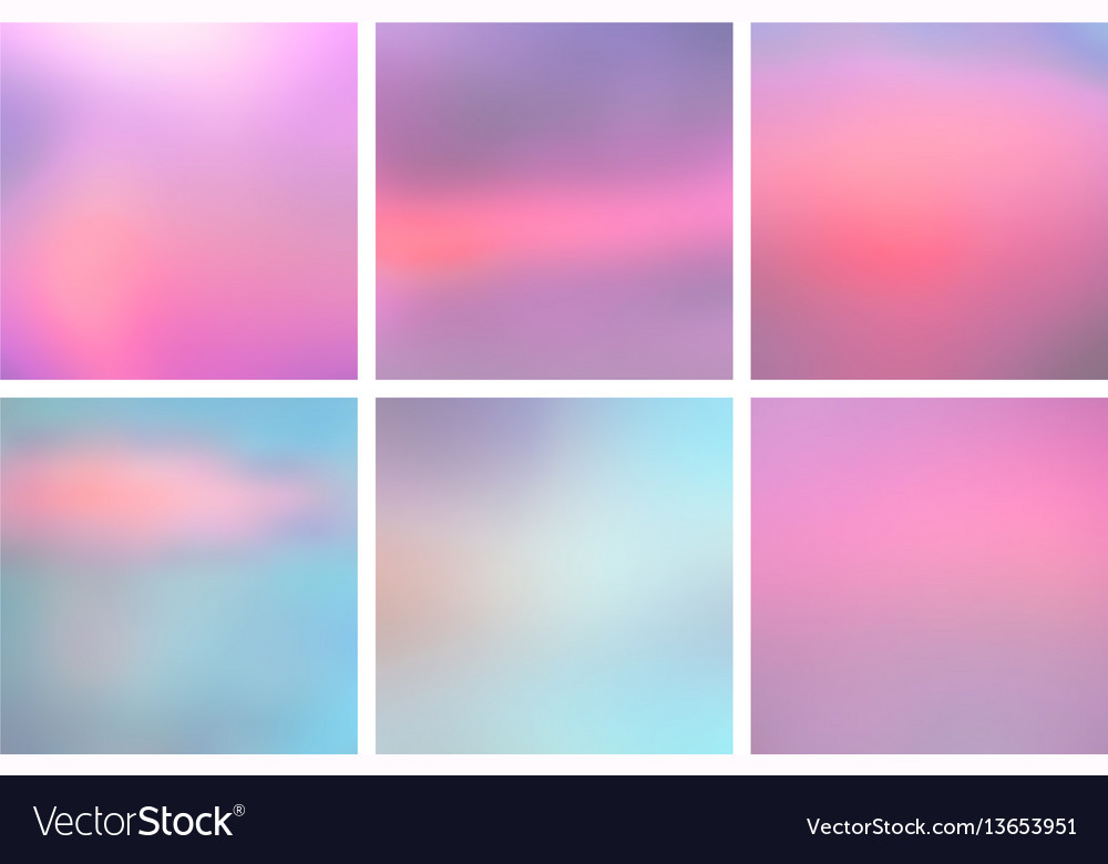 Set of square blurred nature blue pink backgrounds