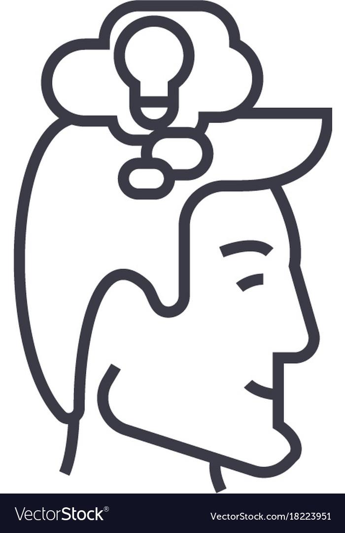 Thinking process head linear icon sign symbol