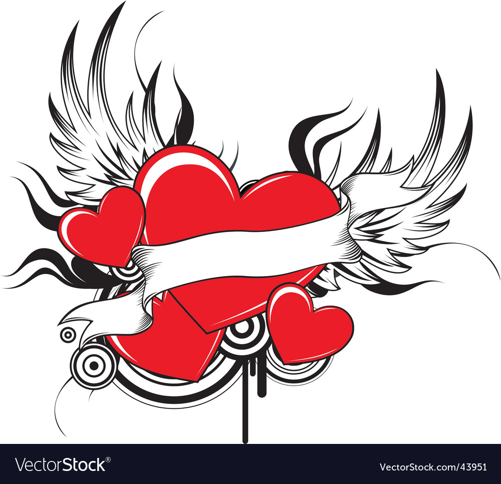 winged heart with ribbon and design elements, individual objects very easy