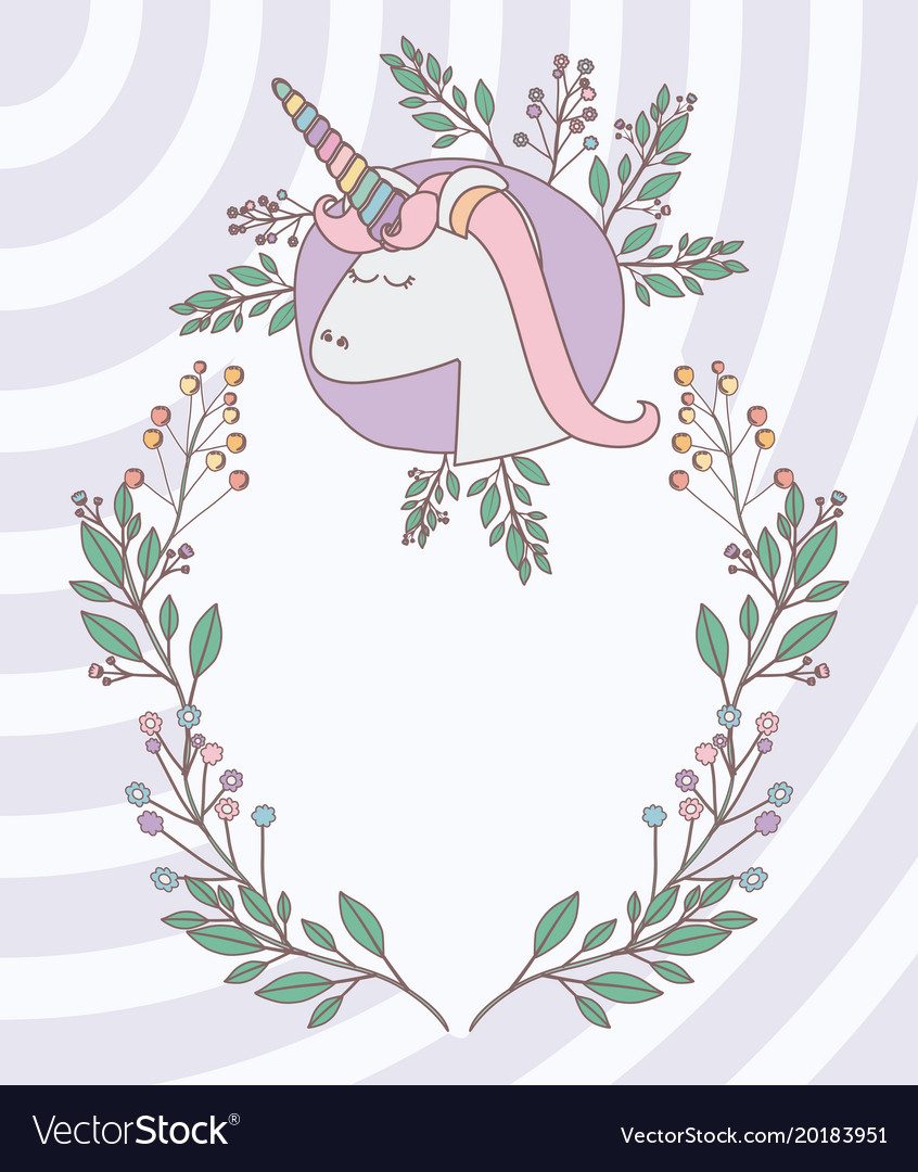 Unicorn party invitation card with floral vector image stopboris Choice Image