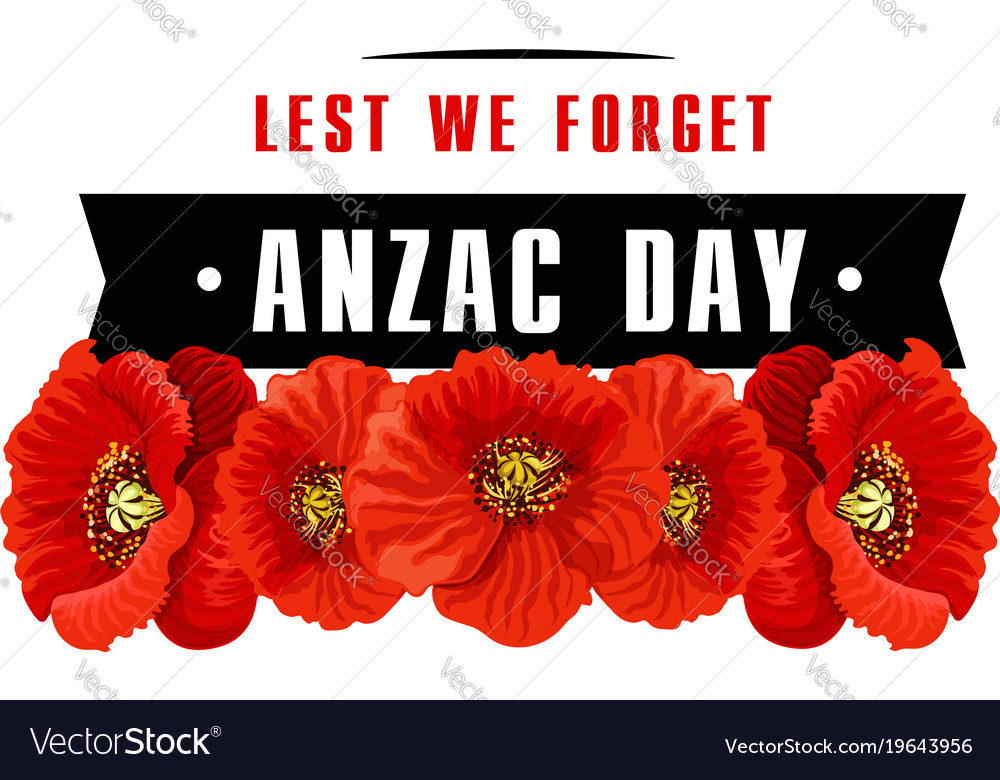 Anzac poppy flower icon with lest we forget banner anzac poppy flower icon with lest we forget banner vector image mightylinksfo