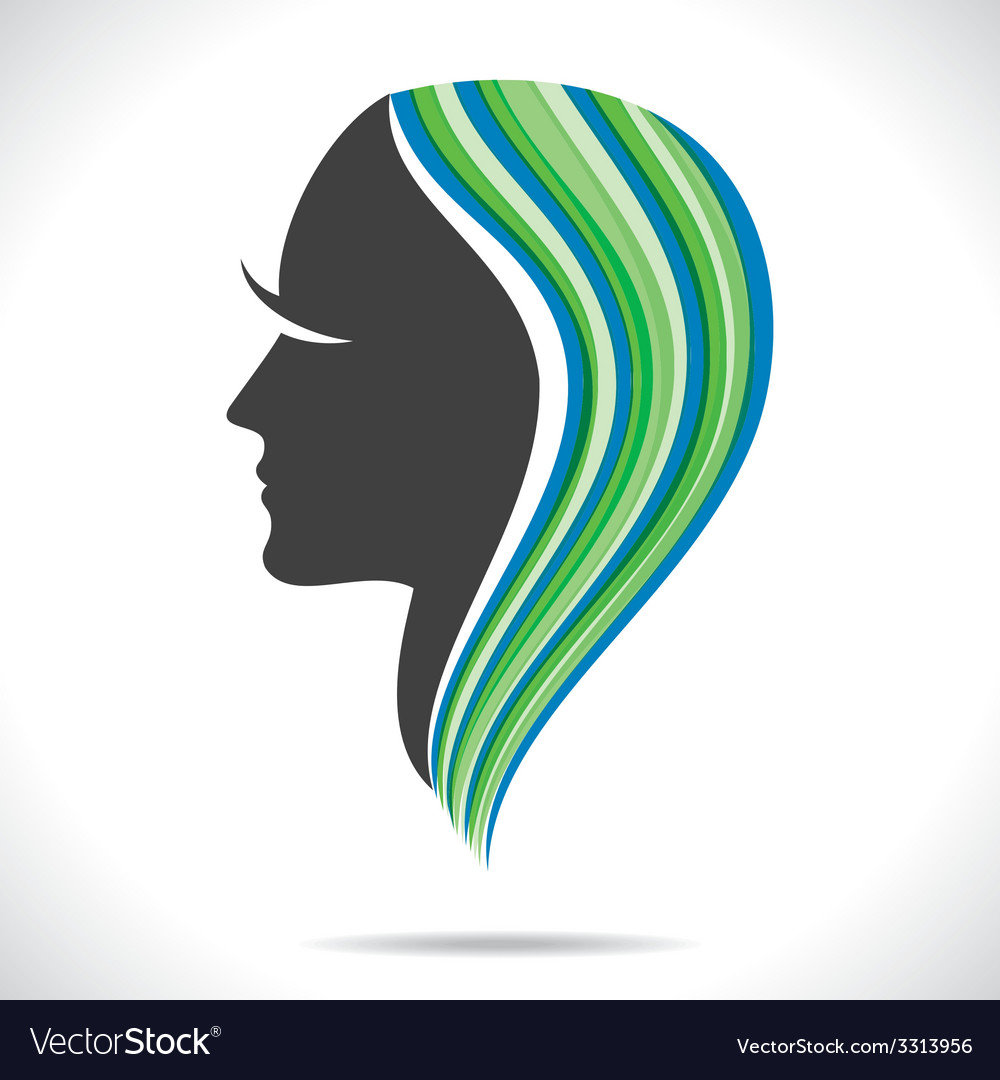 Beautiful Women With Colorful Hair Style Vector Image