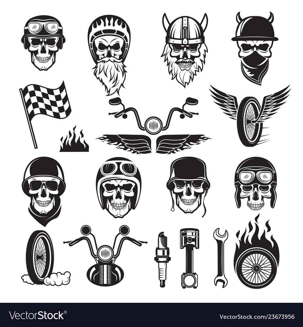 Biker symbols skull bike flags wheel fire bones