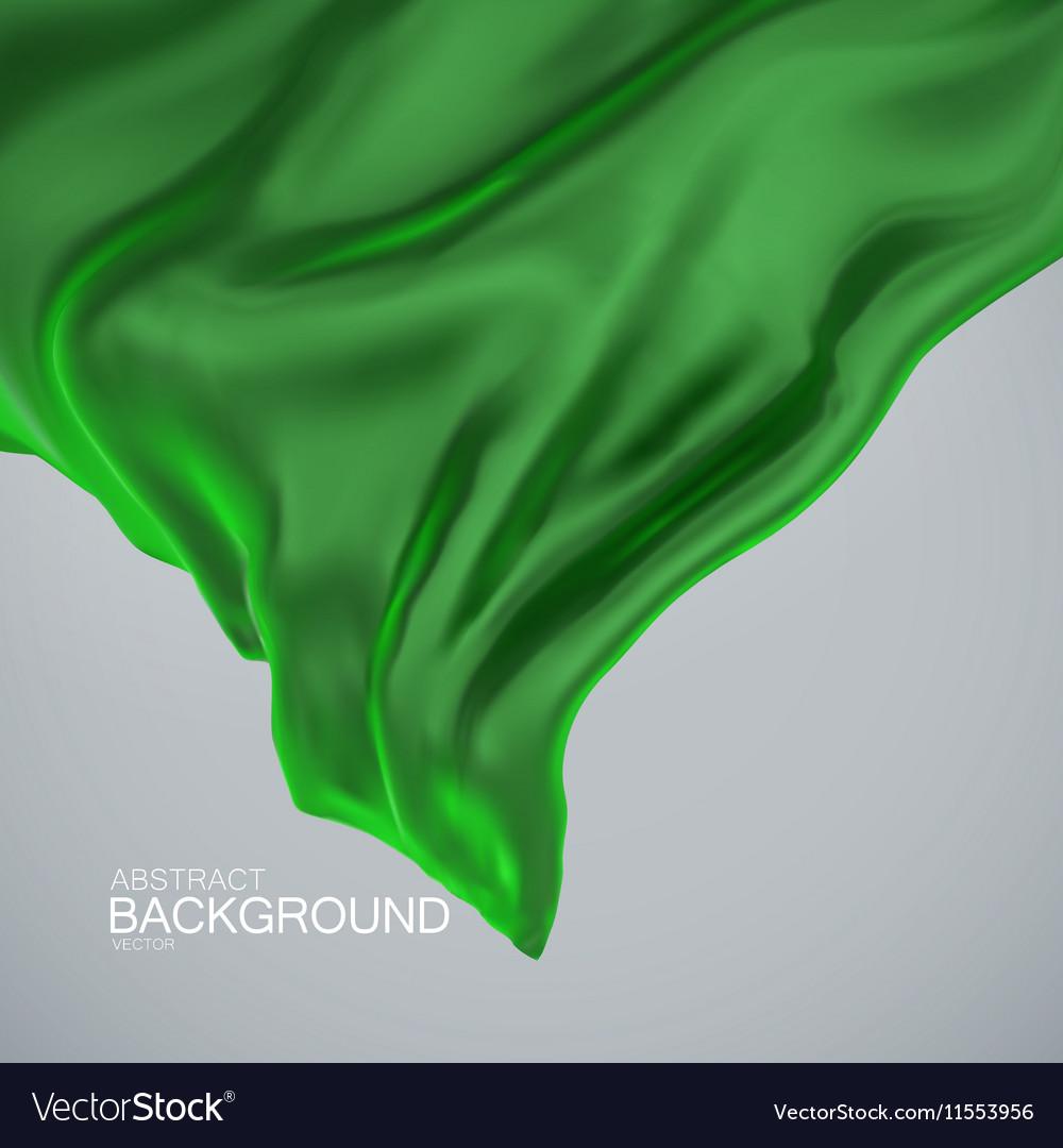 Green silk fabric vector image