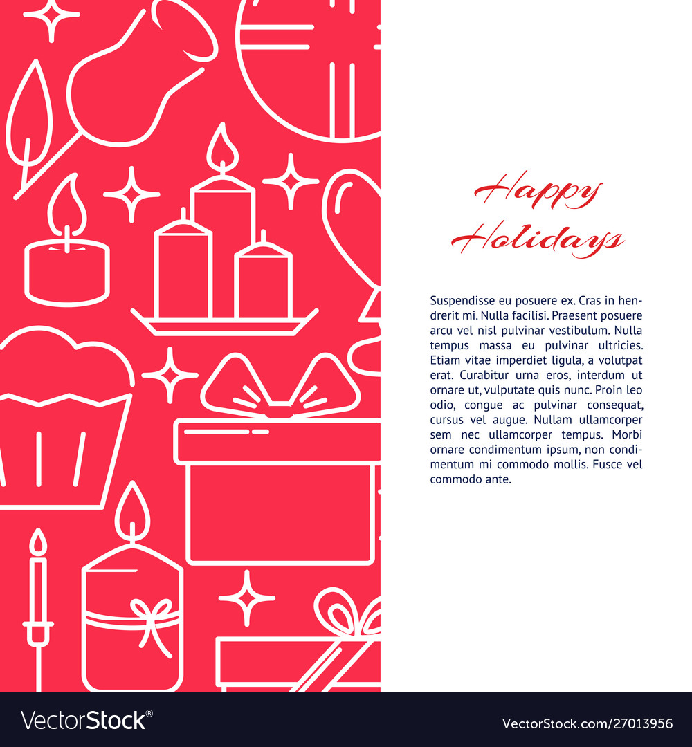Holiday celebration concept banner in line style