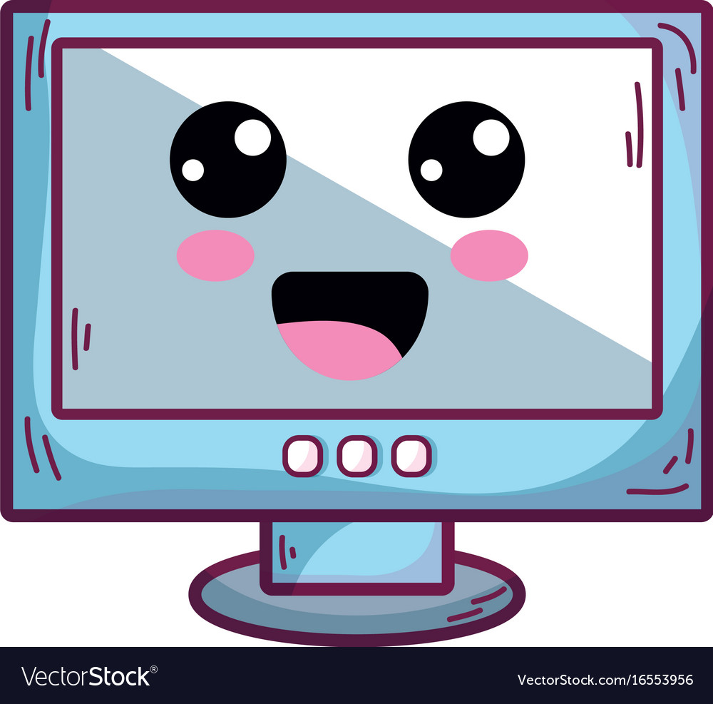 Kawaii cute happy computer technology