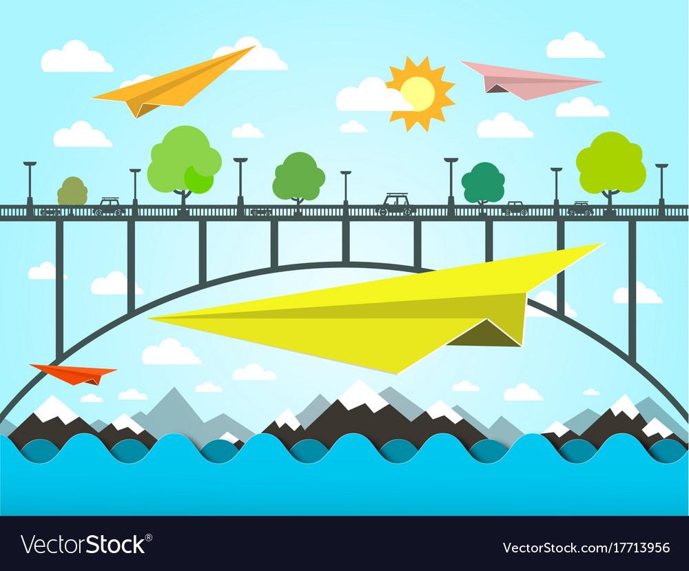 Landscape with paper plains bridge and ocean