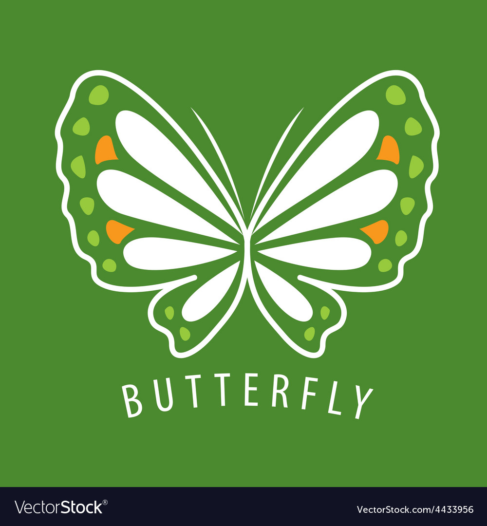 Logo delicate butterfly on a green background