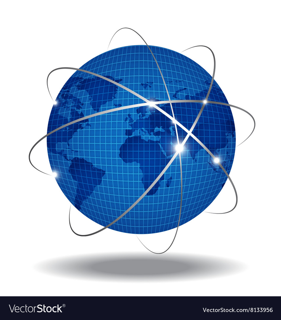Network Global over white background vector image