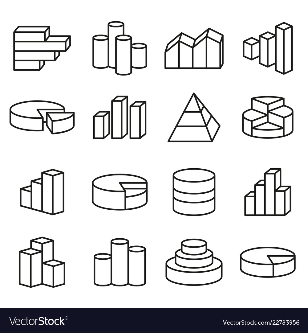 Set financial icons line style bars graph