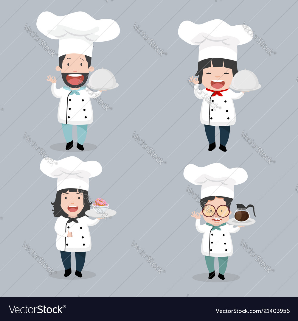 Set of chef characters