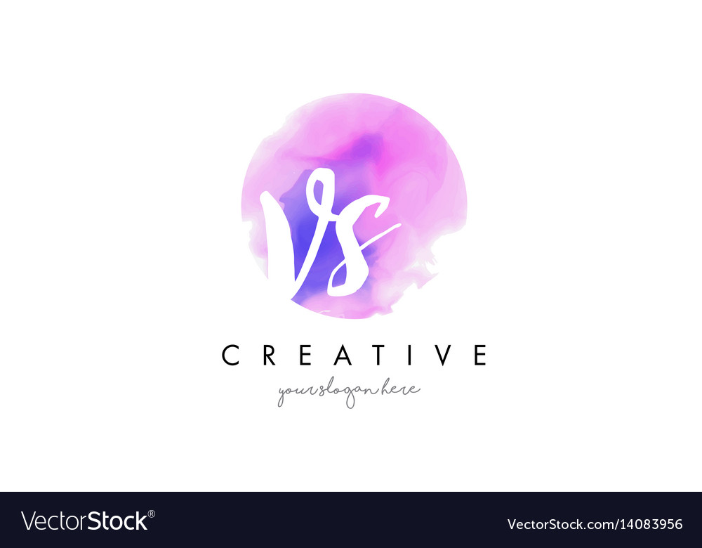 Vs watercolor letter logo design with purple