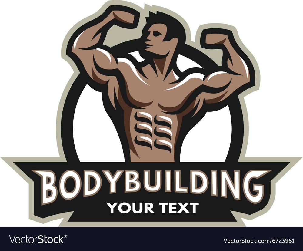Bodybuilder badge emblem vector image