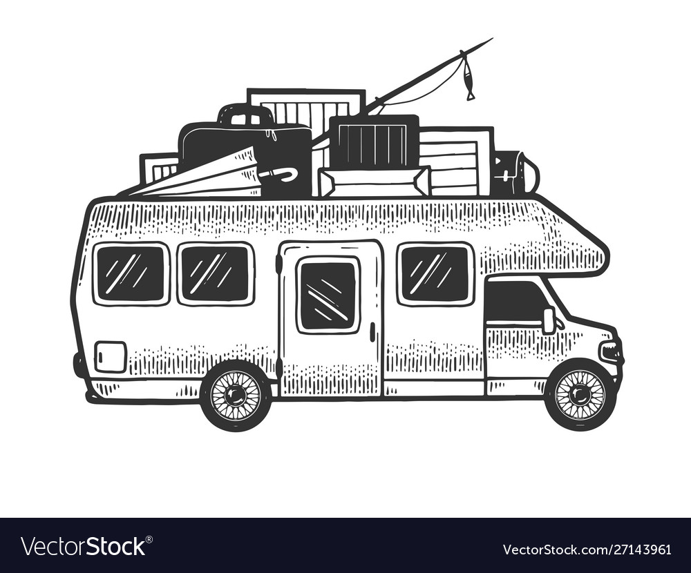 Camper van vehicle sketch engraving