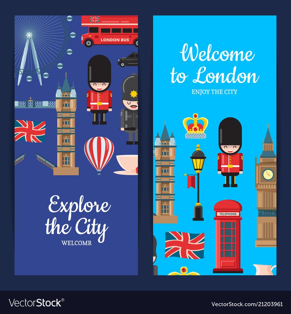 Cartoon london sights banners