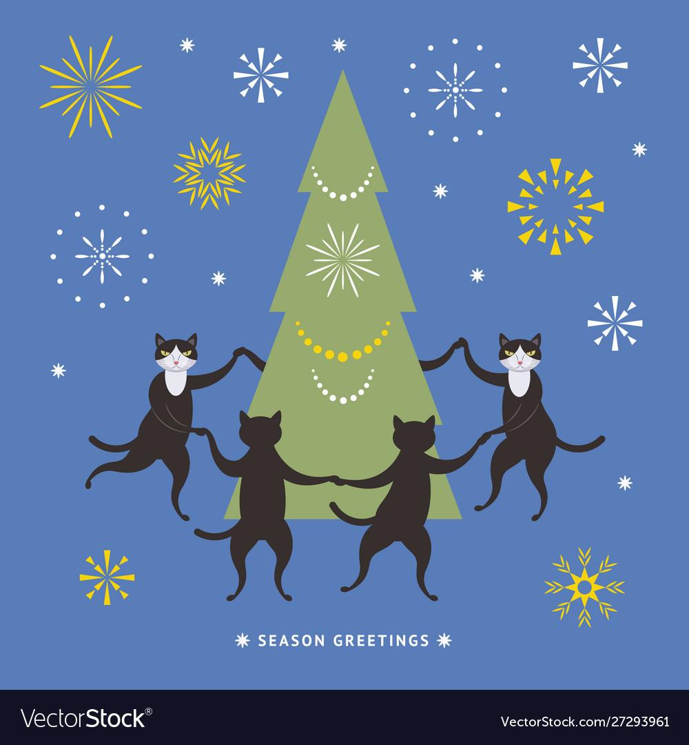 Cats dancing and christmas tree