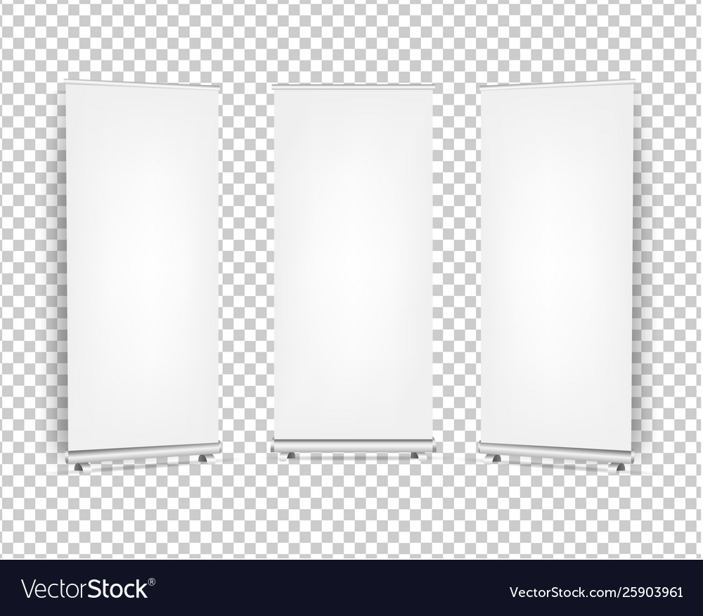 Collection roll up banners set isolated