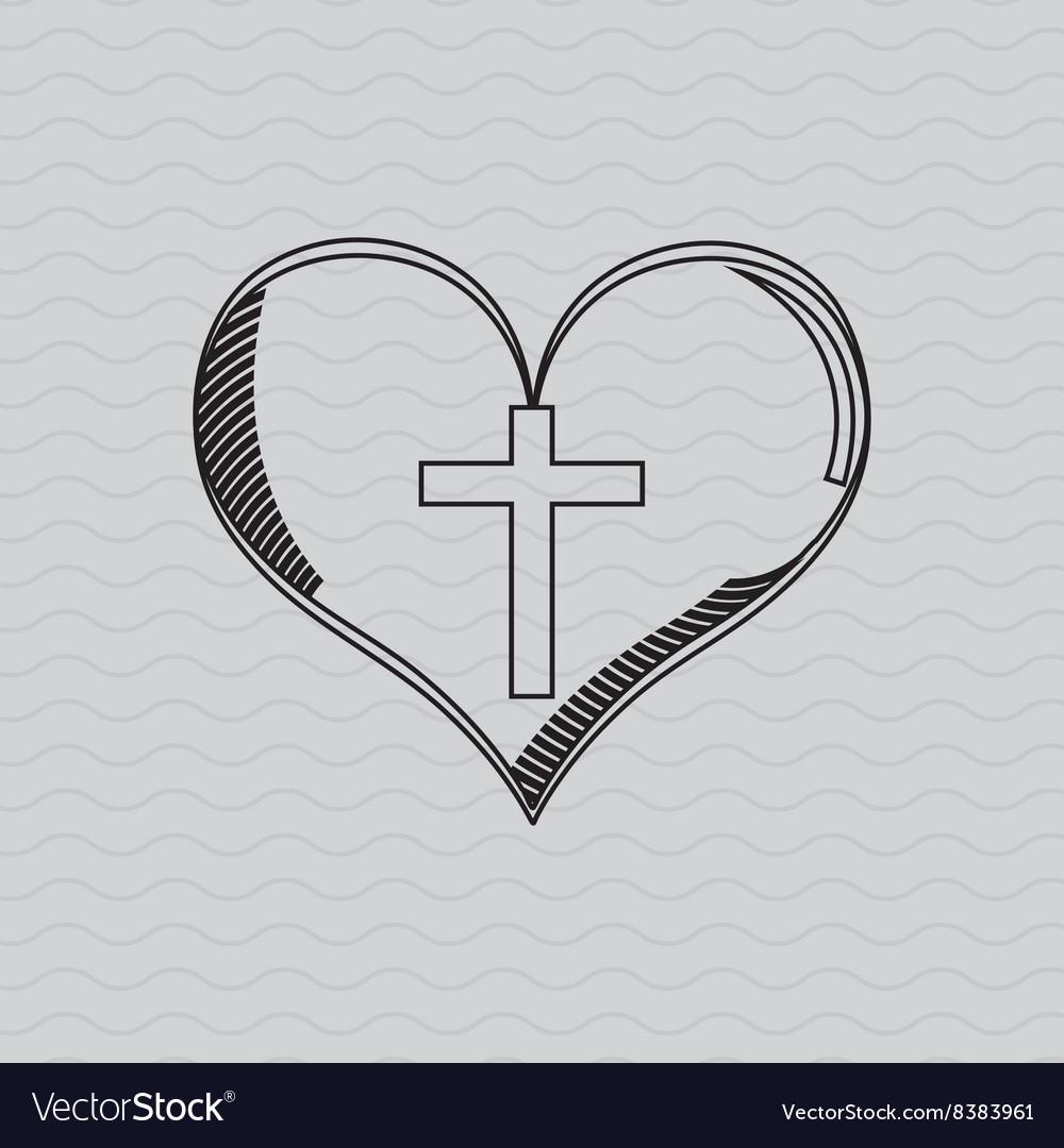 Cross inside the heart design