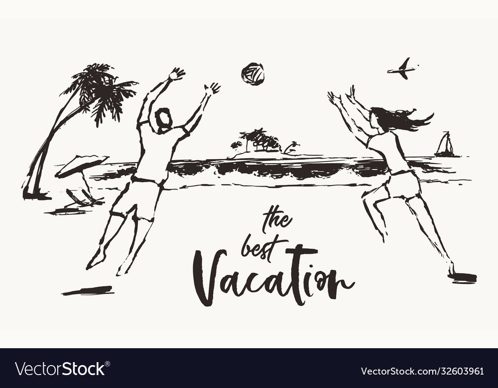 Girl guy play volleyball beach activities vacation