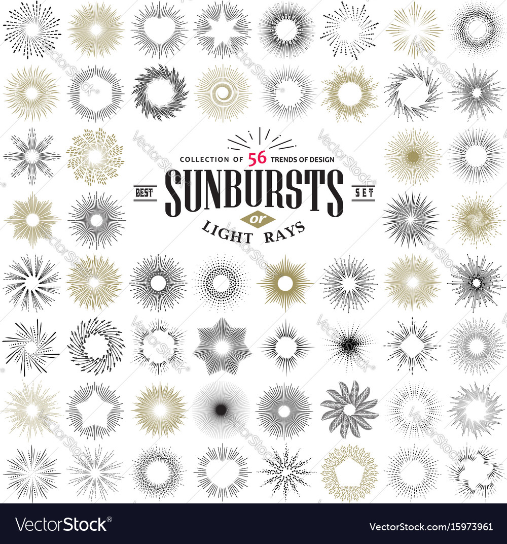 Hand drawn rays and starburst design elements vector image