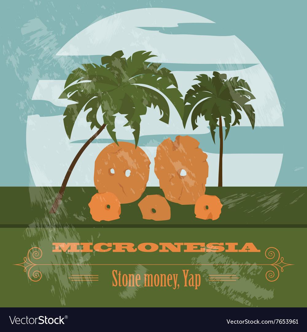 Micronesia Stone money Yap Retro styled image