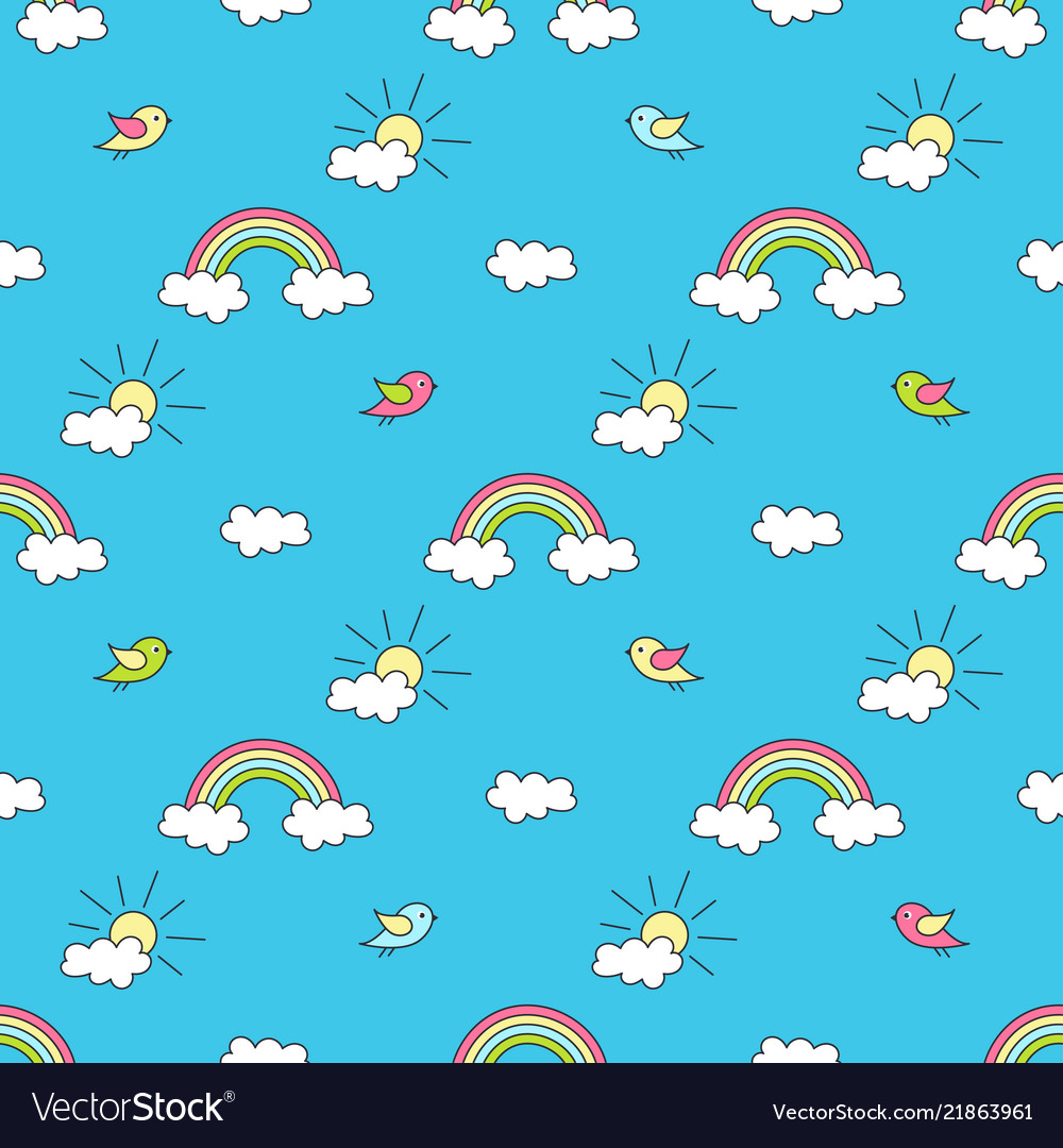 Pattern with rainbows sun clouds and birds