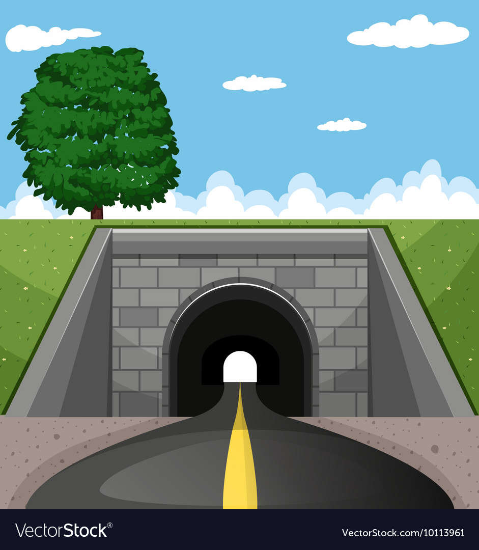 road going through tunnel royalty free vector image  vectorstock