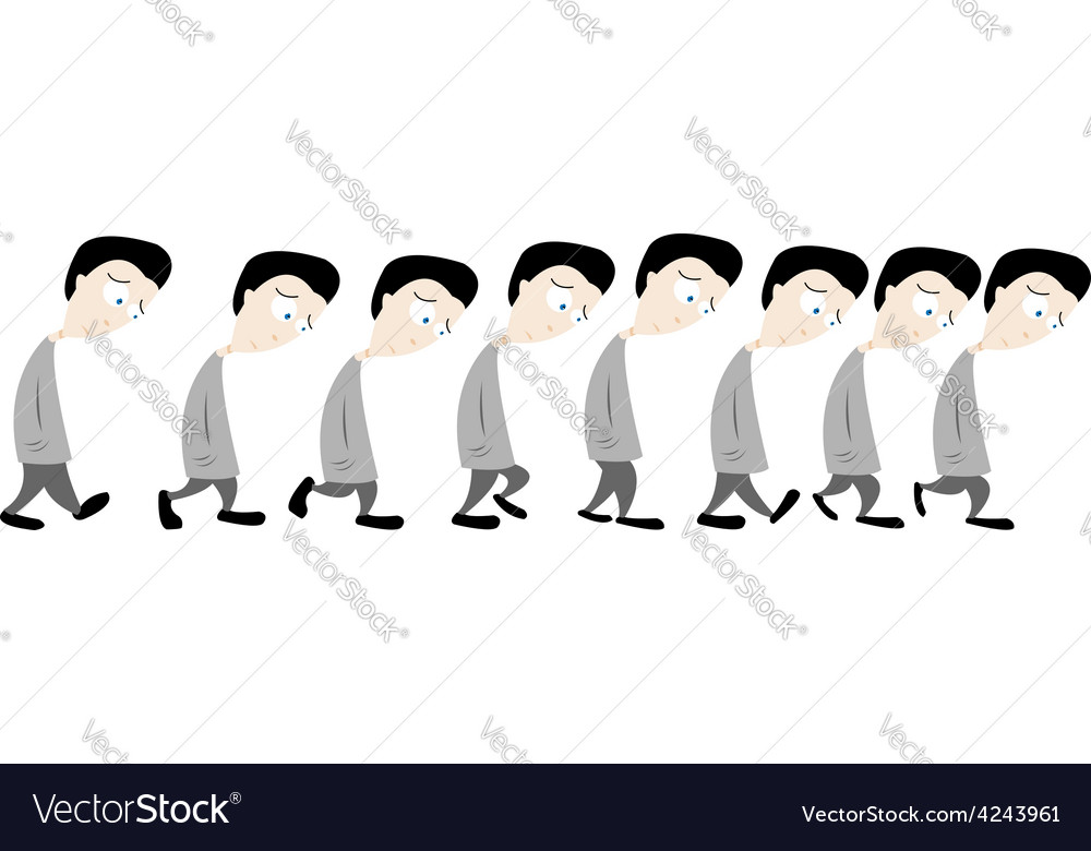 Sad man walking vector image