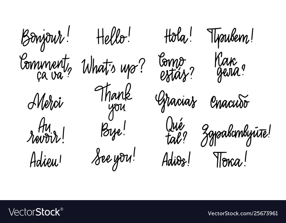 Set hand-written doodle lettering words and