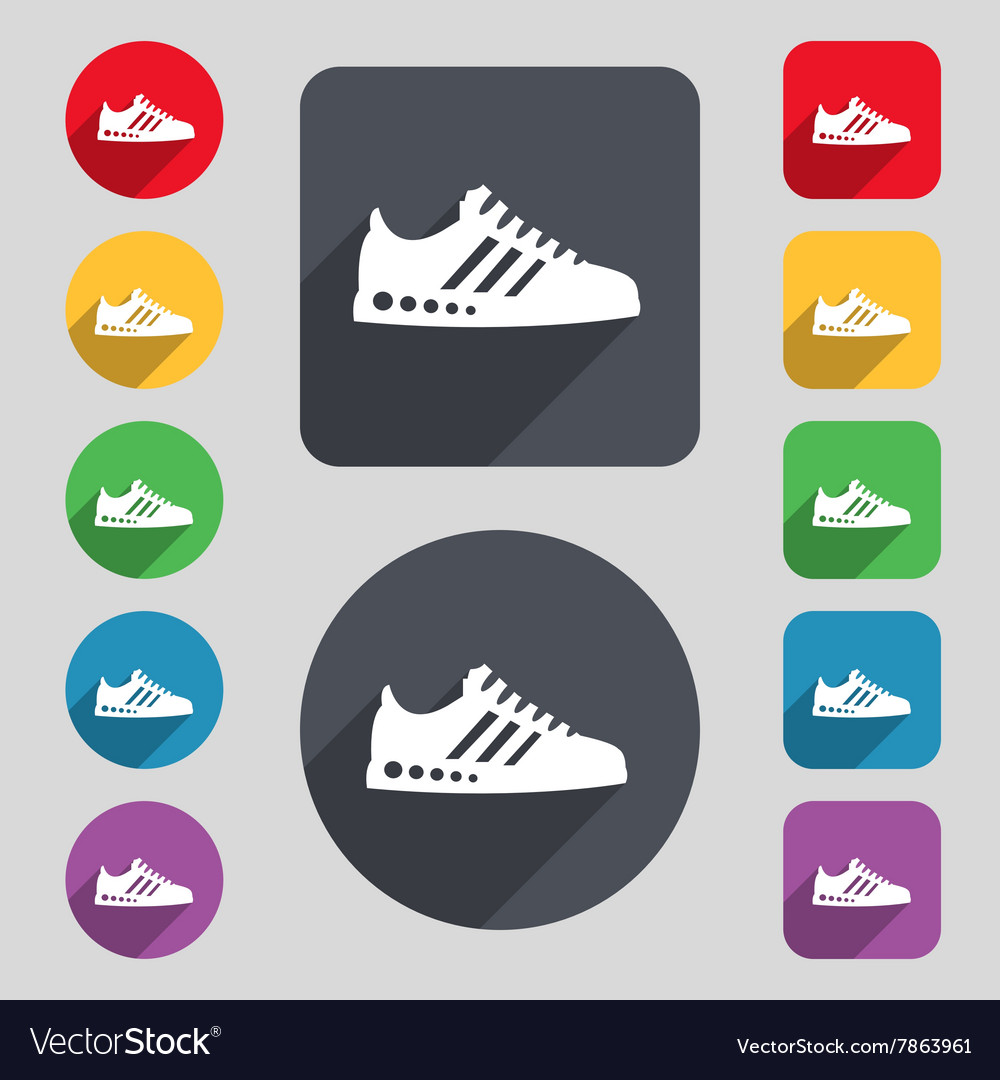 Sneakers icon sign A set of 12 colored buttons and