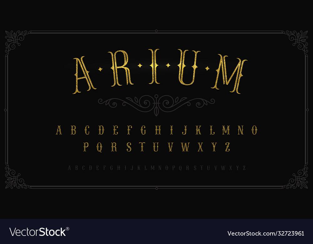Vintage gold font