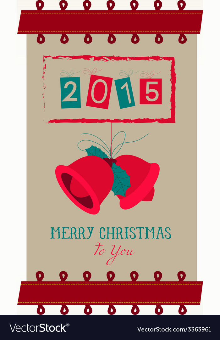 vintage merry christmas and happy new year banner vector image