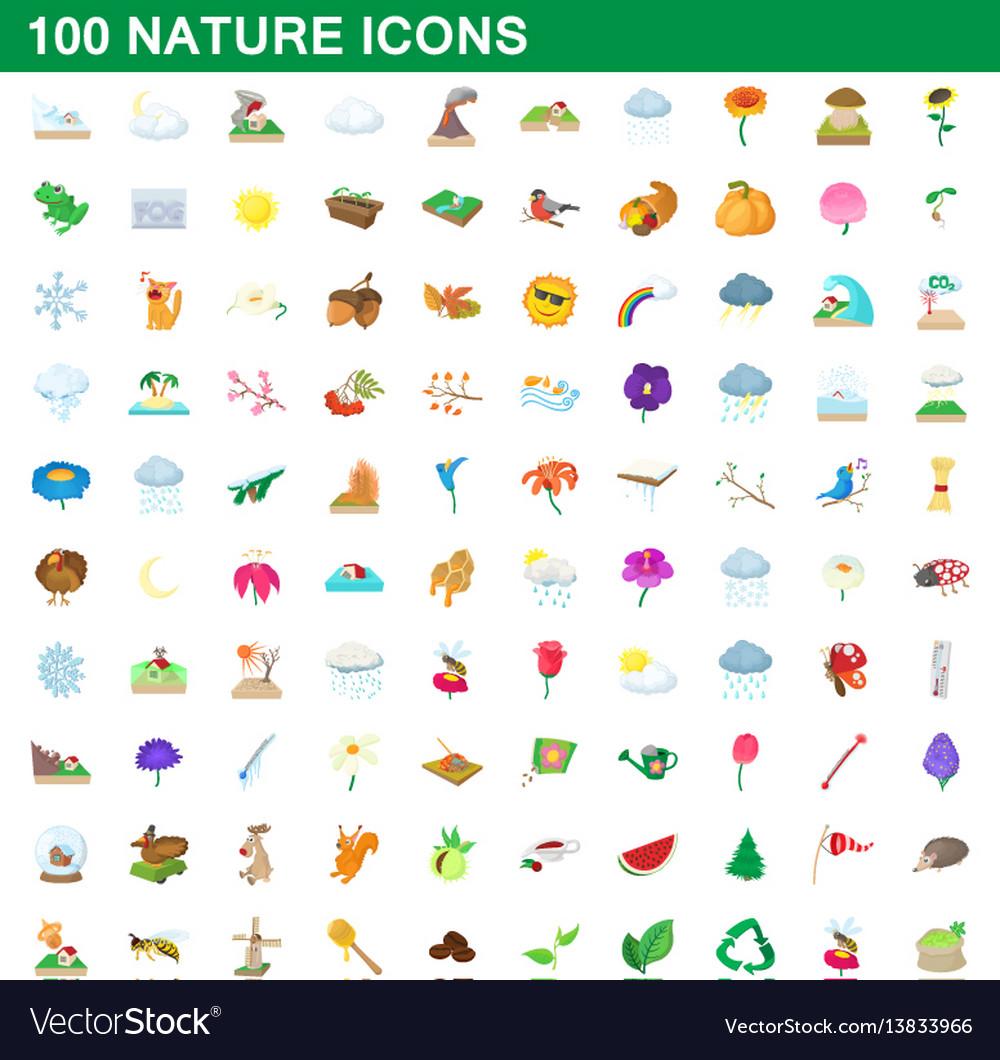 100 nature icons set cartoon style
