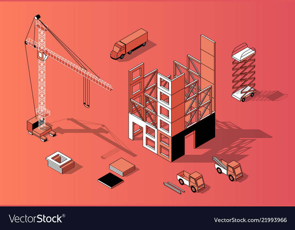 3d isometric construction concept building