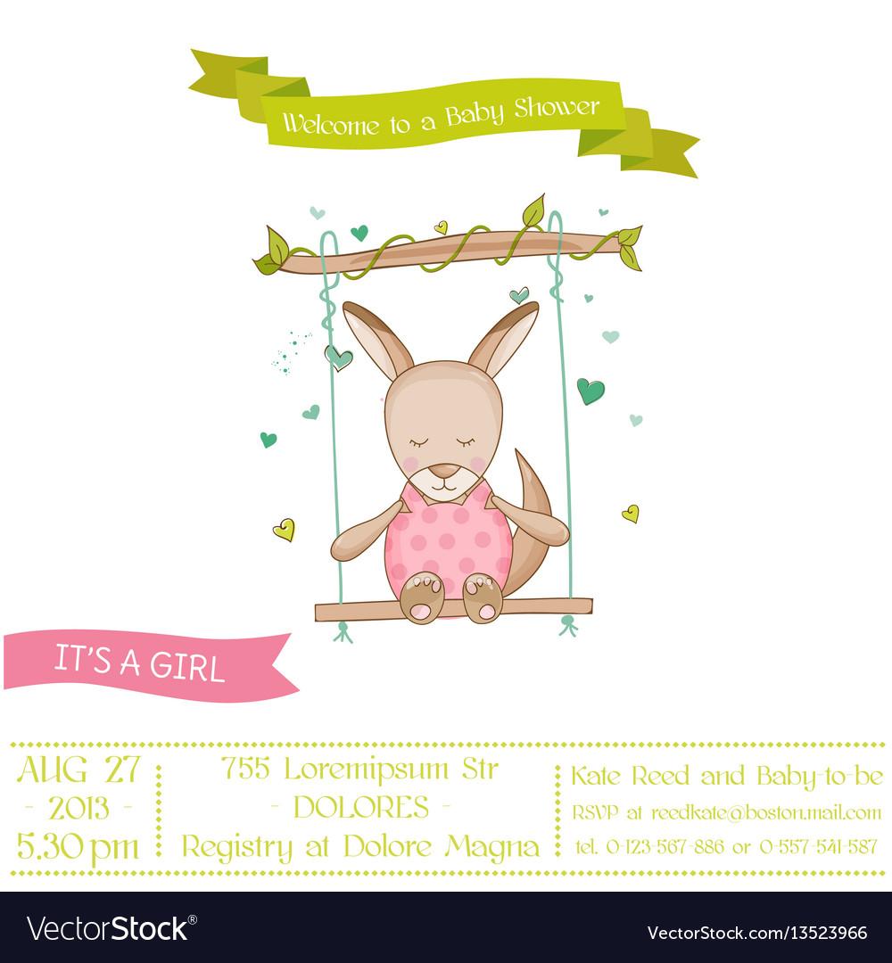 Baby shower or arrival card - baby girl kangaroo vector image