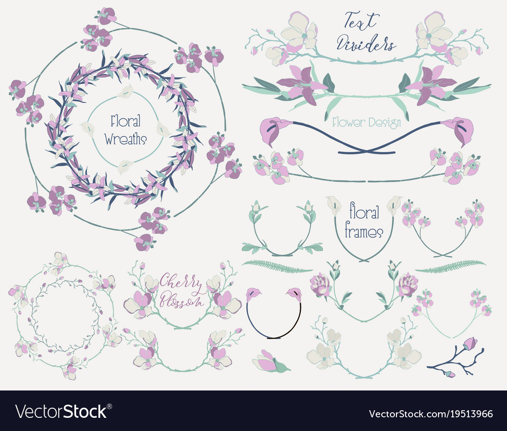 Colorful floral design elements dividers frames vector image