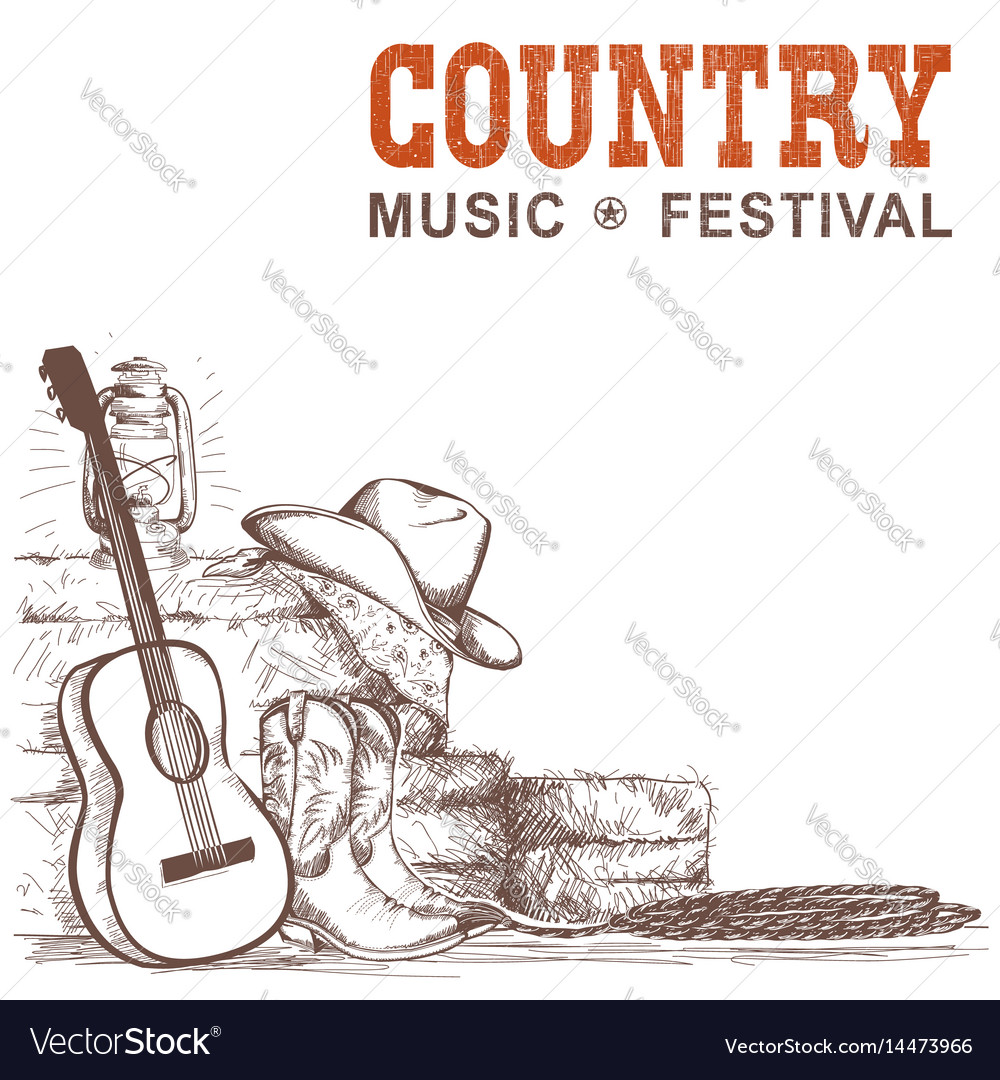 Country music background with guitar and american