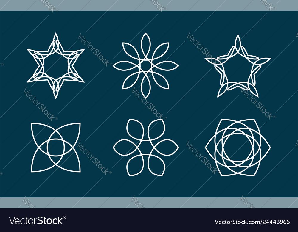 Geometric abstract line art logo icon design pack